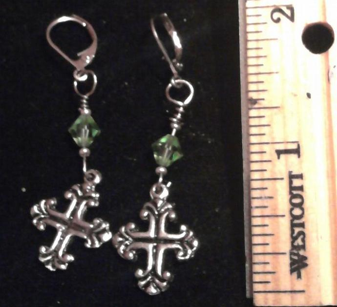 Angelversary Swarovski crystal by month w/pewter butterfly charm earrings