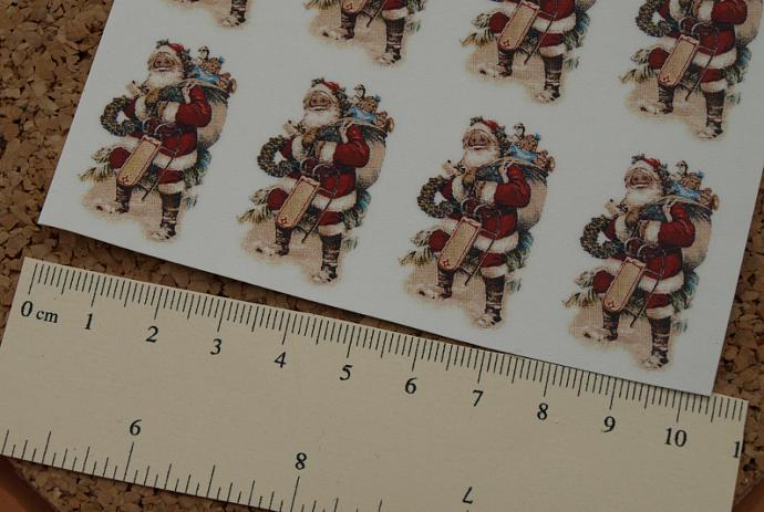 Santa w/ Toy Sack Ceramic Waterslide Decals D10-32