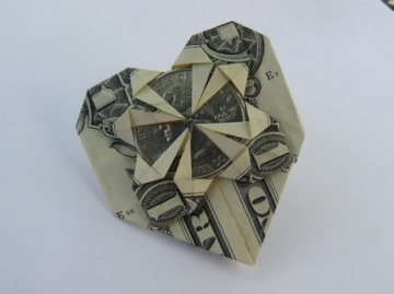 Origami Dollar Heart --with a state quarter--