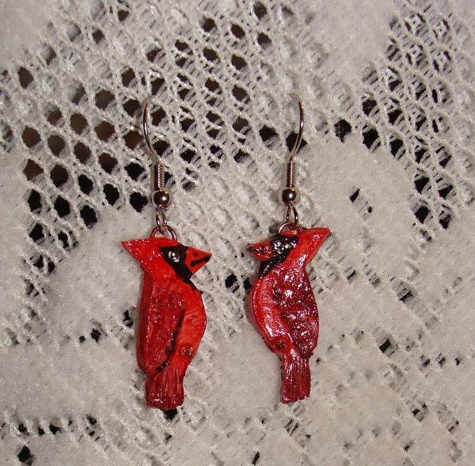 Hand-crafted Red Cardinal Bird Dangle Earrings