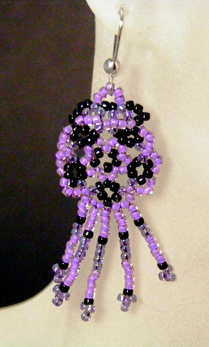Violet Rain Flower Dangle Earrings