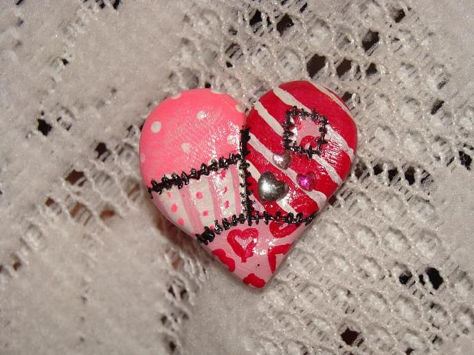 Hand-crafted Pink Patched Up Heart Pin/Brooch w/ Rhinestones