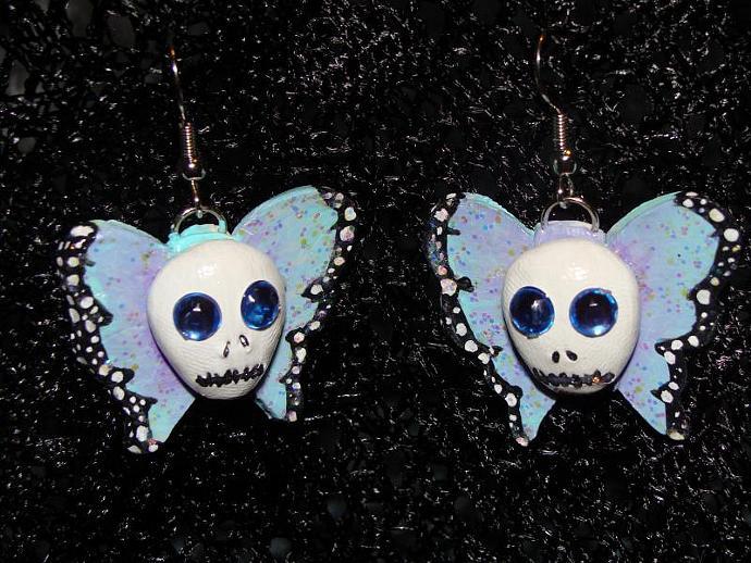 """Hand-crafted """"Skullifly"""" Butterflies w/ Skull Dangle Earrings"""