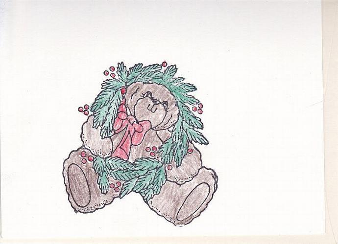 Teddy Bear Playing with Wreath