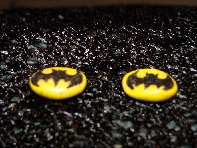 Hand-crafted Yellow & Black Batman Post Stud Earrings