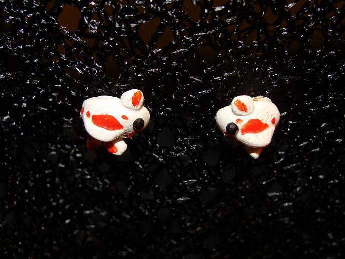 Hand-crafted Orange & White Koi Fish Post Stud Earrings w/ Rhinestones