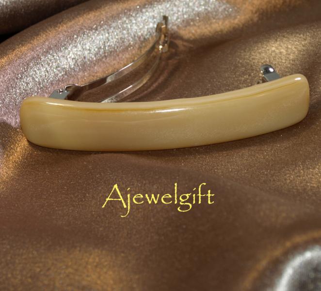 Cream Narrow Fused Glass Barrette (93185FN)