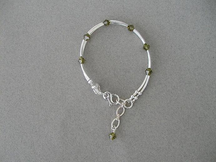 Khaki Swarovski Bracelet
