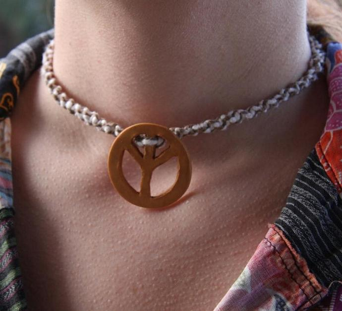 OOAK Swirled Hemp Choker with Gold Peace Sign - TPA