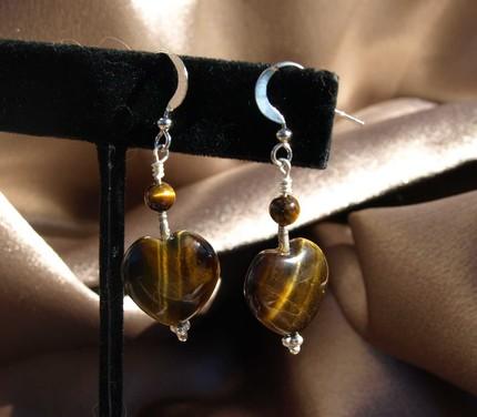 Tiger Eye Heart Earrings 9007