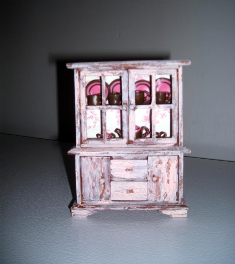 Dollhouse Miniature Rustic China Cabinet by DeLightfulMinis on Zibbet