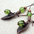 Green Forest: elfin green & copper earrings with Czech glass and leaf charms