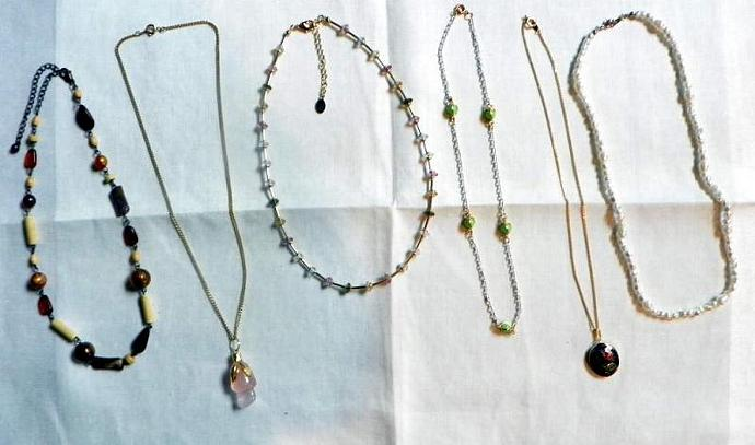 Lot of Six Necklaces Beaded, Cloisone,