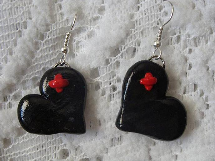 Hand-crafted Black Heart Dangle Earrings