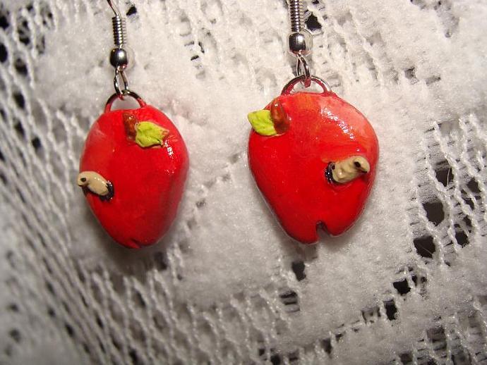 Hand-crafted Teacher Apple W/ Worm Dangle Earrings