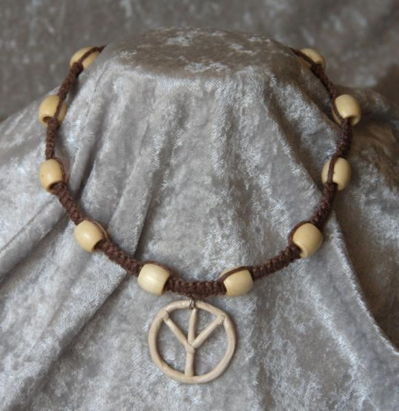 OOAK Dark Hemp Choker with Beige Peace Sign - TPA