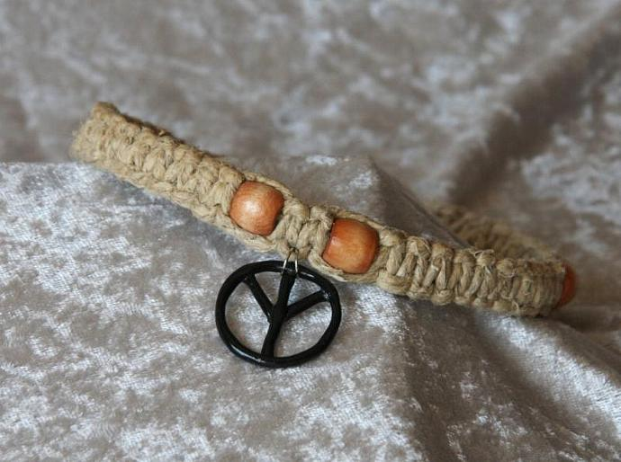OOAK Hemp Choker with Black Peace Sign - TPA
