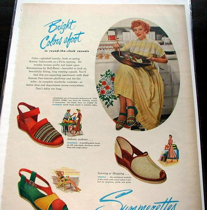1945 Life Magazine Ad-Lucille Ball. Summerettes Shoes