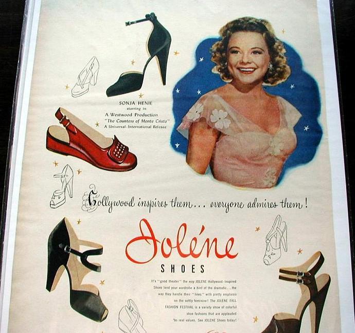 1948 Life Magazine Ad-Sonja Henie. Jolene shoes