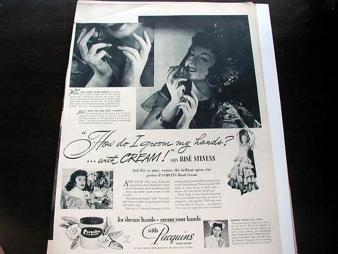 1948 Life Magazine Ad-Rise Stevens. Pacquins Hand Cream