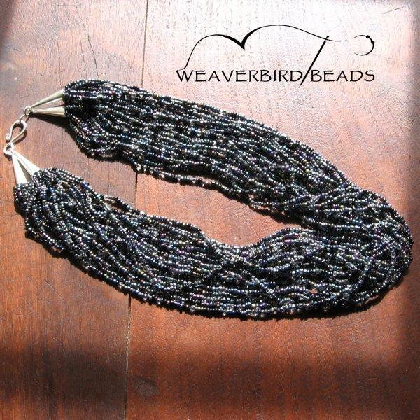 Beaded necklace multi strand black