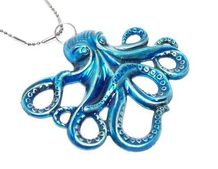LARGE Beautifully hand painted METALLIC  BLUE OCTOPUS Kraken PENDANT