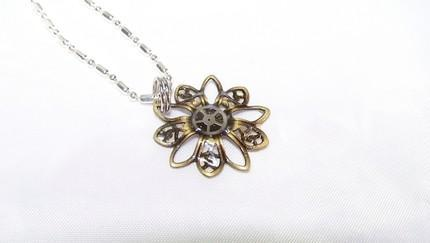 Itty Bitty Steampunk Inspired Flower Blossom Necklace by TheSteamPunk
