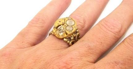 Steampunk  Adjustable Ring With a Beautiful HERKIMER DIAMOND Set In A