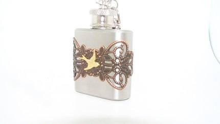 The ULTIMATE UNISEX STEAMPUNK GIFT--1oz Stainless Steel Flask key cha