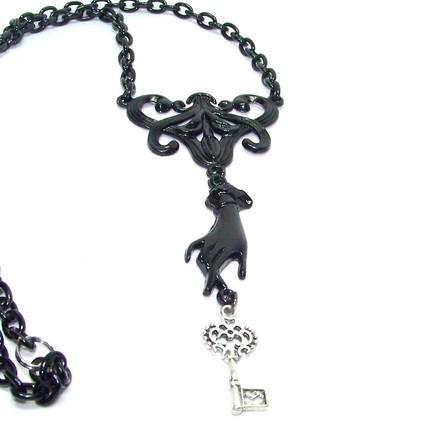 GORGEOUS BLACK Steampunk Inspired Victorian SECRETS IN THE DARK Neckl
