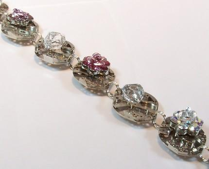 Herkimer Diamonds and Swarovski Crystal  Roses Steampunk Inspired Ten