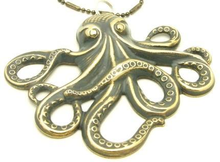 LARGE Beautifully hand painted SLATE GRAY OCTOPUS Kraken PENDANT NECK