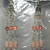 NEW Peach & Crystal Glass & Feather Earrings