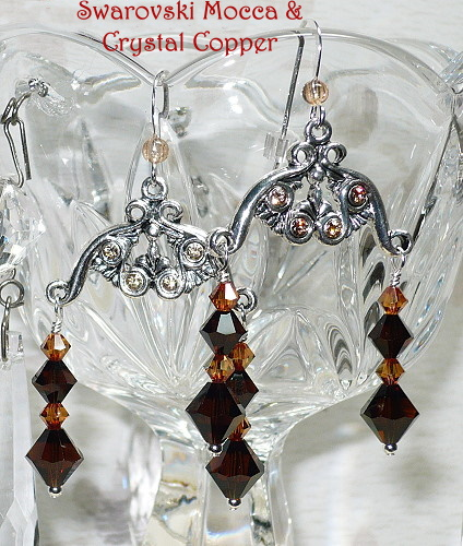 Swarovski Mocca & Crystal Copper Chandeliers