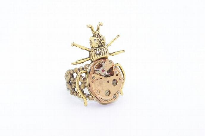 Gold Bug Steampunk Ring