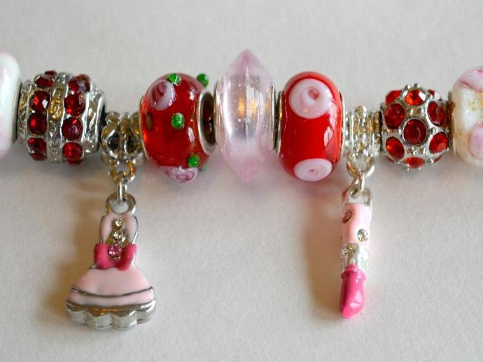 Pink and Red Pandora Style Bracelet