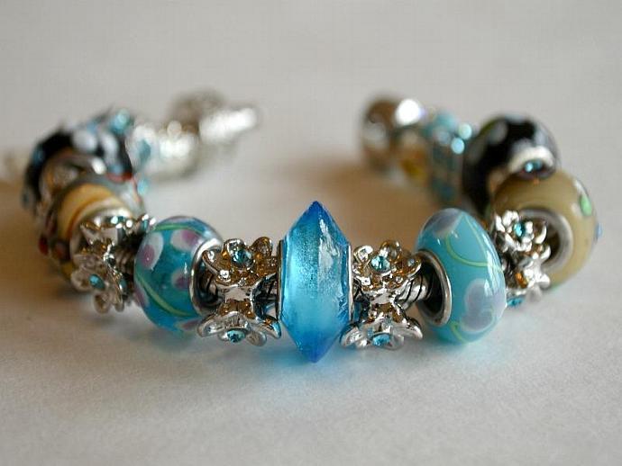 Sky Blue Pandora Style Bracelet