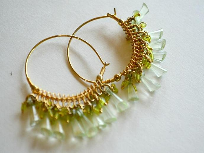 Green Glass Crystals on Large Golden Hoops