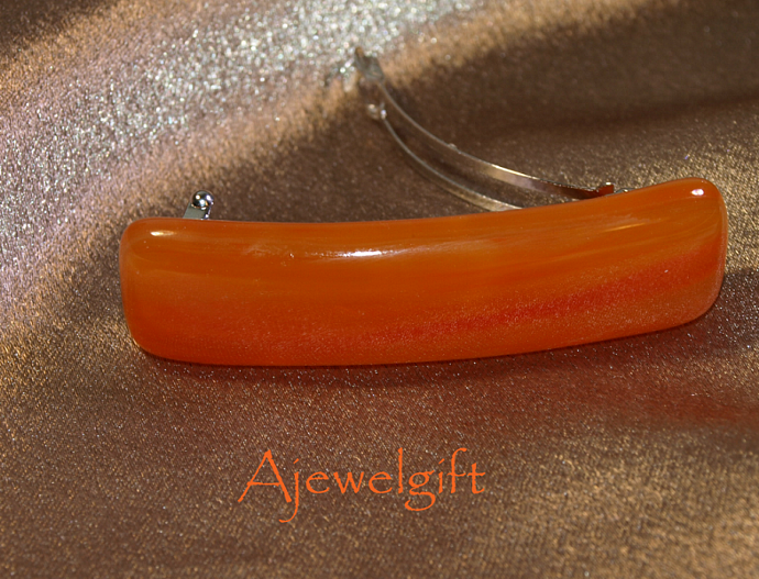 Orange Fused Glass Barrette-9S048F