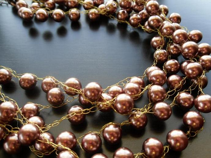 Wedding/ Formal Party Brown Pearl Necklace