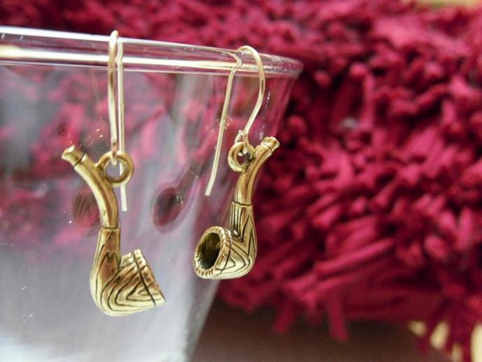 Antique Gold Pipe Earrings