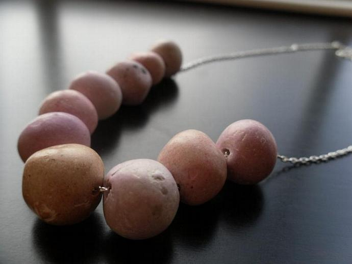 Ceramic Egg Necklace- Lavender Red, Orange