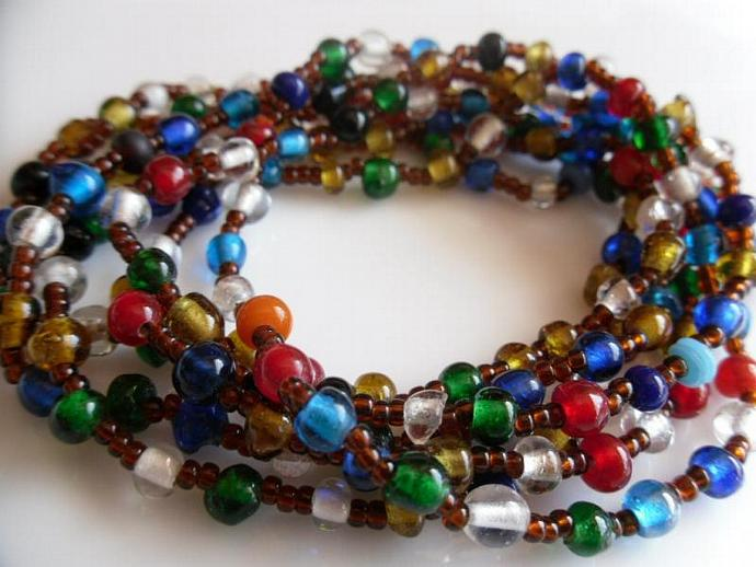 A Strand of Fun and Multicolor Beads Lariat (necklace or bracelet)