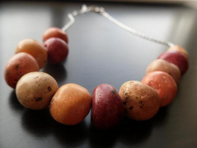 Ceramic Egg Necklace- Valentines Day Red and Orange