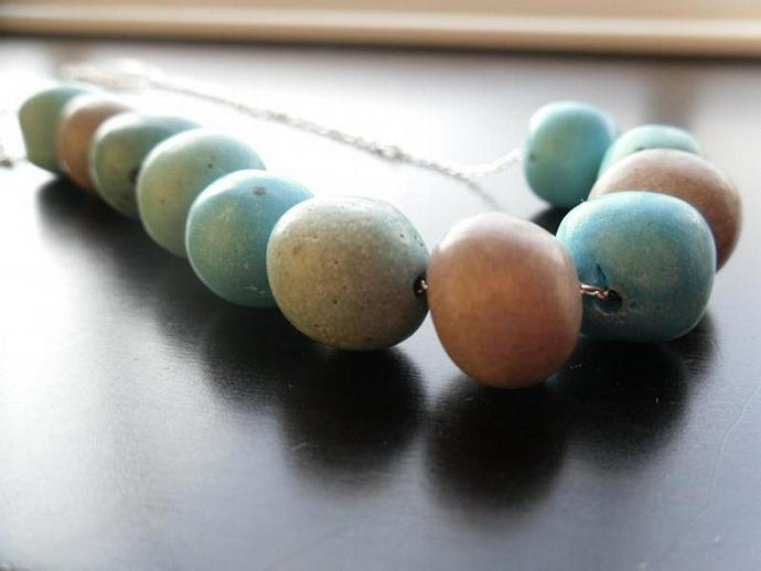 Blue Bird Eggs Necklace-Turquoise Blue, Gray Purple, Green
