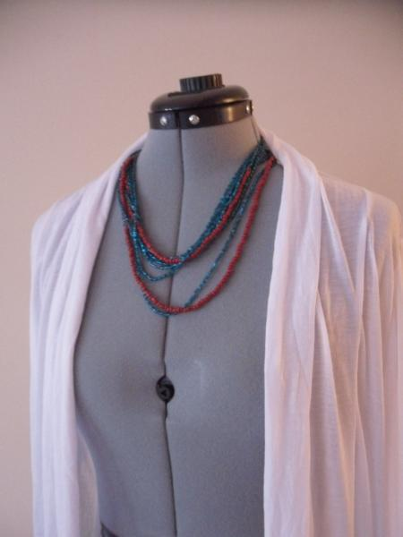 Loyal Blue with Cherry Red  Necklace, Bracelet, Ring Bracelet, DIY-Super Long