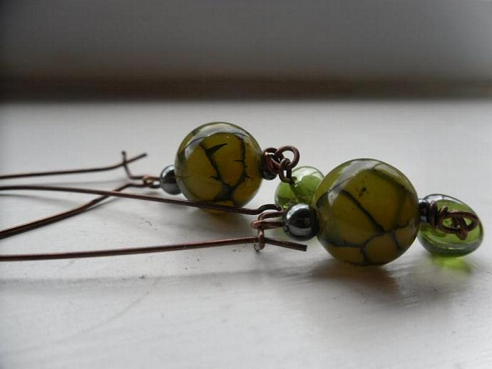 Green Spider Fire Agate with Foil Glass  Earrings-Mothers Day