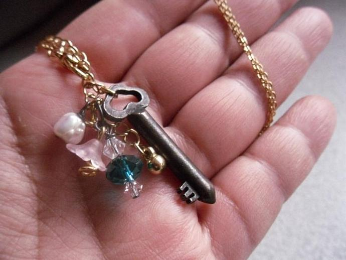 Antique Skeleton Key Necklace w Swarovski Crystals, Blue Faceted Rondelle