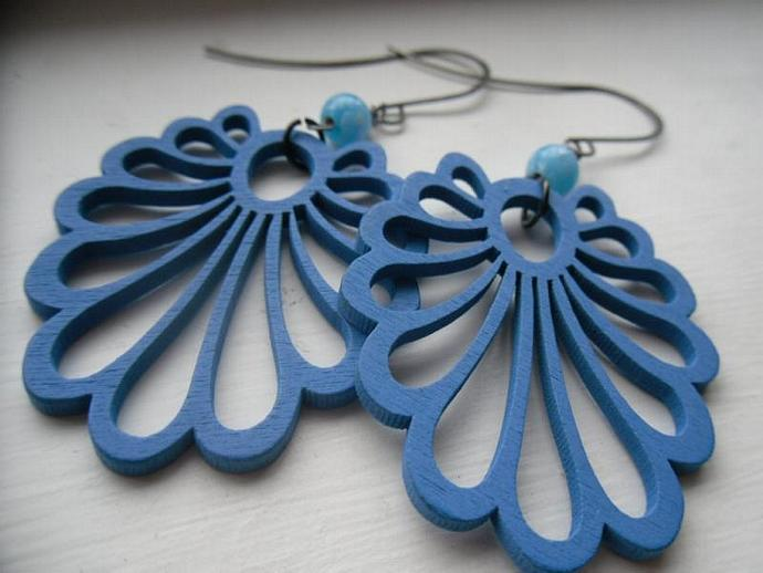 Wild Wooden Earrings-Fire Phoenix, Blue Peacock, Yellow Mustard Leaves