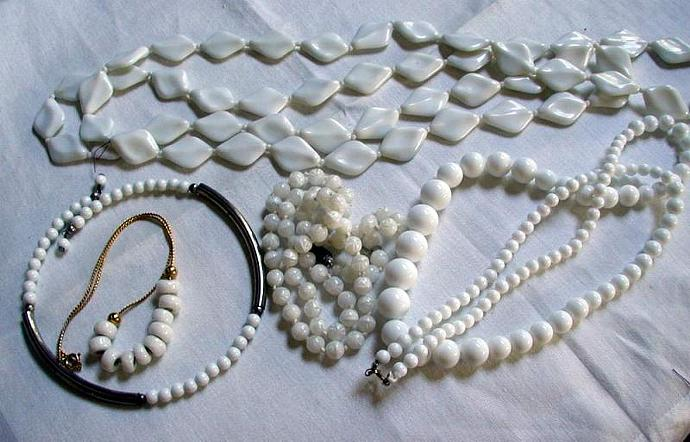 Lot of Five White Summer Necklaces